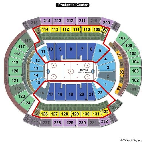 New Jersey Devils - Prudential Center paikkakartta