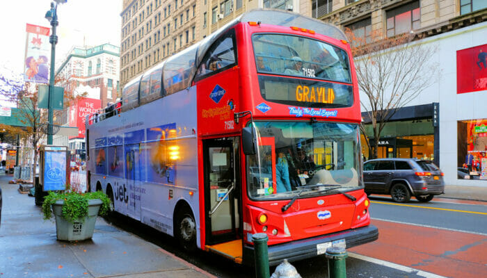 Gray Line Hop-On Hop-Off bus in New York - Hopping on