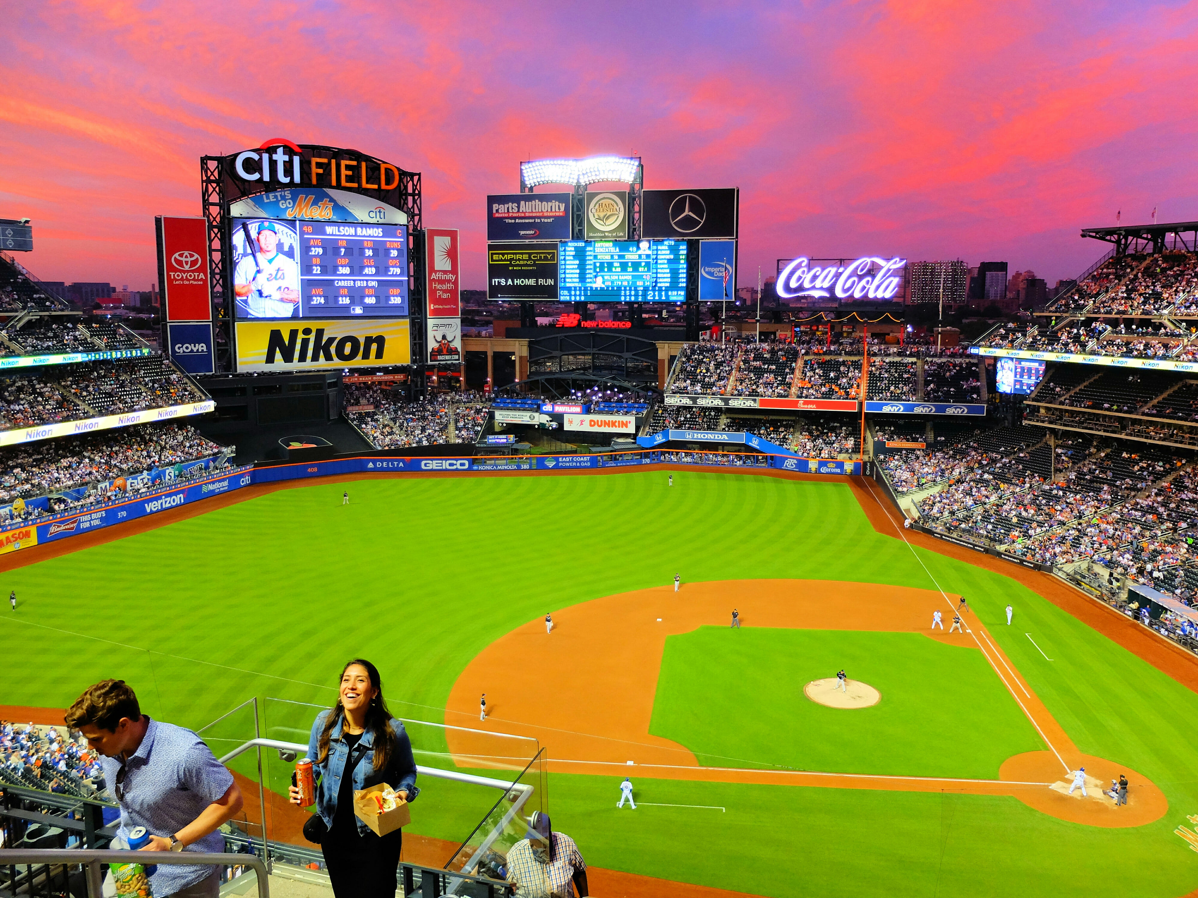 New York Mets Baseball Game at Sunset – High Quality Wallpaper