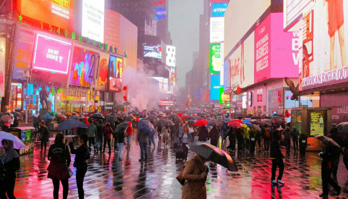 Rain in New York - Times Square