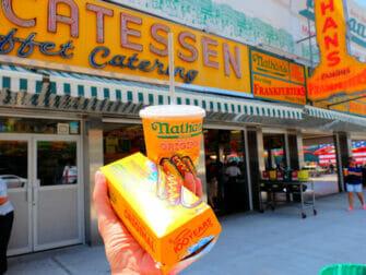 Deno's Wonder Wheel Amusement Park in Coney Island - Nathan's Famous Hot Dog